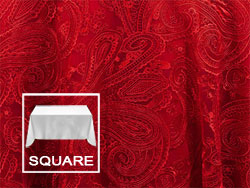 "90"" X 90"" Square Premium Paisley Elegant Lace Tablecloth"