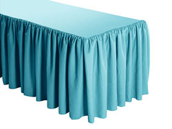 Premium Faux Burlap Shirred Table Skirt - 6FT  (3 Sides Covered) - 11FT Section