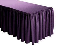 Premium Faux Burlap Shirred Table Skirt - 8FT  (3 Sides Covered) - 13FT Section