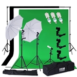 600 Watts Photo Studio White Umbrella Continuous Lighting Kit with Backdrops
