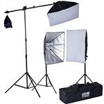2400 Watt Softbox Photo Studio Continuous Lighting Kit with Boom Arm Hairlight