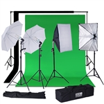 1200 Watts SoftBox Continuous Lighting Photo Video Studio Kit with Chromakey Background Muslins