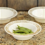 10 Pack - Ivory with Gold Trimmed 6oz Round Disposable Bowl - Picturesque Collection