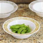 10 Pack - White with Gold Trimmed 6oz Round Disposable Bowl - Picturesque Collection