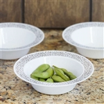10 Pack - White with Silver Trimmed 6oz Round Disposable Bowl - Picturesque Collection