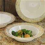 10 Pack - Ivory with Gold Trimmed 12oz Round Disposable Bowl - Picturesque Collection