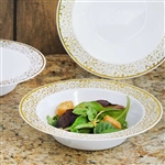10 Pack - White with Gold Trimmed 12oz Round Disposable Bowl - Picturesque Collection