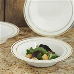 10 Pack - Ivory with Gold 12oz Round Disposable Bowl - Tres Chic Collection
