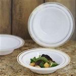 10 Pack - White with Gold 12oz Round Disposable Bowl - Tres Chic Collection