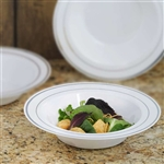 10 Pack - White with Silver 12oz Round Disposable Bowl - Tres Chic Collection