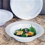 10 Pack - White with Silver 12oz Round Disposable Bowl - Twirl Collection