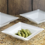 10 Pack - White with Silver 5oz Square Disposable Bowl - Hot Dots Collection
