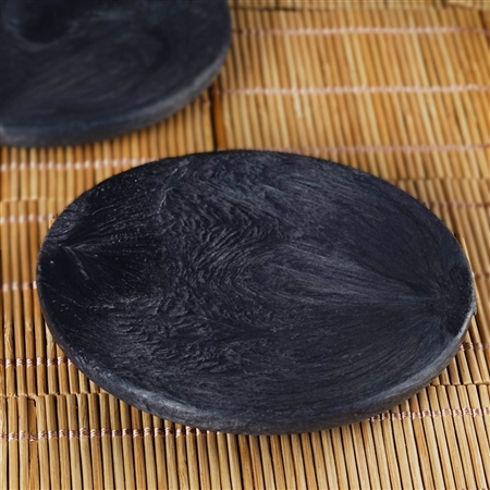 "2 Pack - Black Beguilingly Round 5"" x 1/2"" thick High End Display Dish"