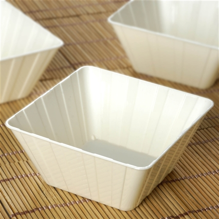 12 Pack - Ivory Square 7oz Disposable Bowls - Chambury Plastics