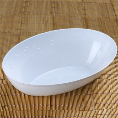 4 Pack - White Oval 2qt Disposable Salad Bowl   - Chambury Plastics