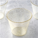 Gold Glittered 5oz Wine Cocktail Disposable Plastic Cups for Wedding Party Event Dinnerware - Pack of 12