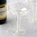 6oz Gold Glittered Clear Disposable Plastic Glass Dessert Cups for Party Event Dinnerware - Pack of 12