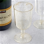 7.2oz Gold Glittered Clear Disposable Plastic Glass For Wedding Party Event Dinnerware - Pack of 12
