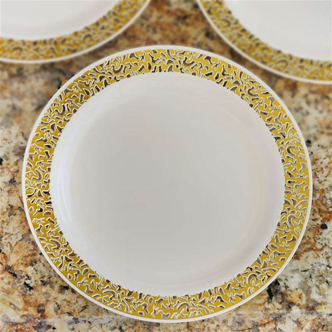 10 Pack - Ivory with Gold Trimmed 9  Round Disposable Plate - Designer Lace collection & Buy Disposable 9