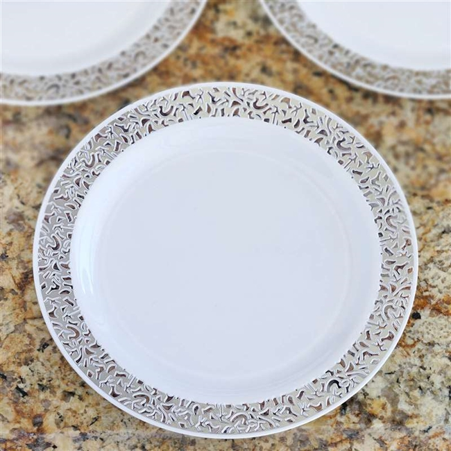 10 Pack - White with Silver Trimmed 9  Round Disposable Plate - Designer Lace collection & Buy Disposable 9