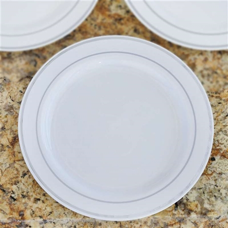 "10 Pack - White with Silver 9"" Round Disposable Plate - Tres Chic Collection"
