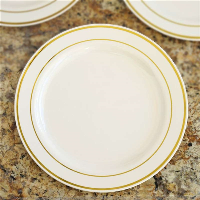 10 Pack - Ivory with Gold 10.25  Round Disposable Plate - Tres Chic Collection  sc 1 st  RazaTrade & Buy Round Disposable Plastic Plates | Wholesale Tableware