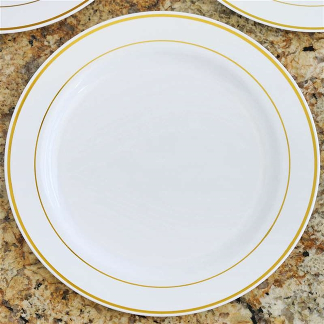 10 Pack - White with Gold 10.25  Round Disposable Plate - Tres Chic Collection  sc 1 st  RazaTrade & Buy Round Disposable Plastic Plates | Wholesale Tableware