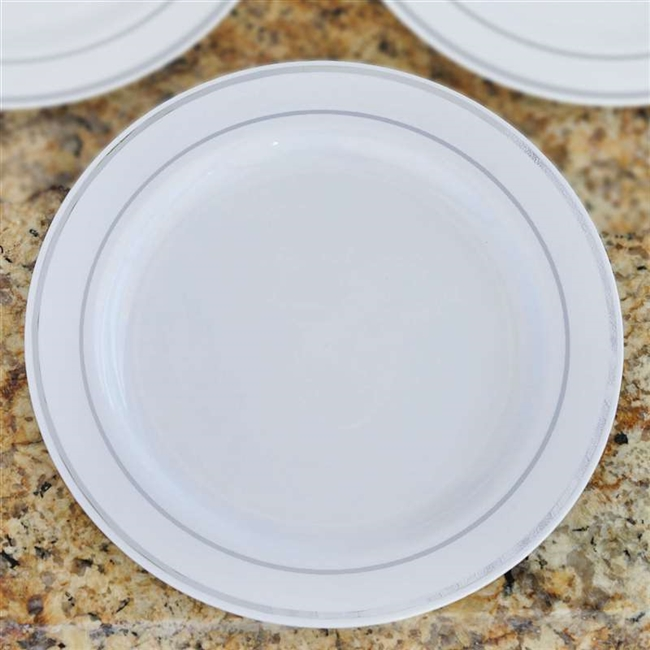 10 Pack - White with Silver 10.25  Round Disposable Plate - Tres Chic Collection & Buy Round Disposable Plastic Plates | Wholesale Tableware