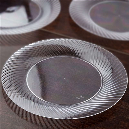 "10 Pack - Clear 10"" Round Disposable Plate - Twirl Collection"