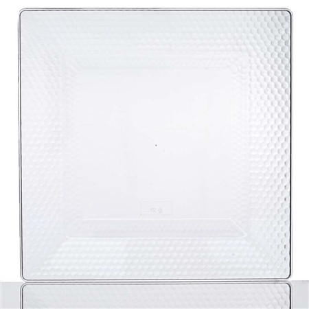 "10 Pack - Clear 10.75"" Square Disposable Plate - Honeycomb Collection"