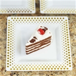 "10 Pack - White with Gold 8"" Square Disposable Plate - Hot Dots Collection"