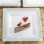 "10 Pack - White with Silver 8"" Square Disposable Plate - Hot Dots Collection"