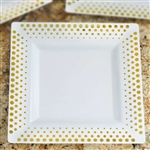 "10 Pack - White with Gold 9.5"" Square Disposable Plate - Hot Dots Collection"