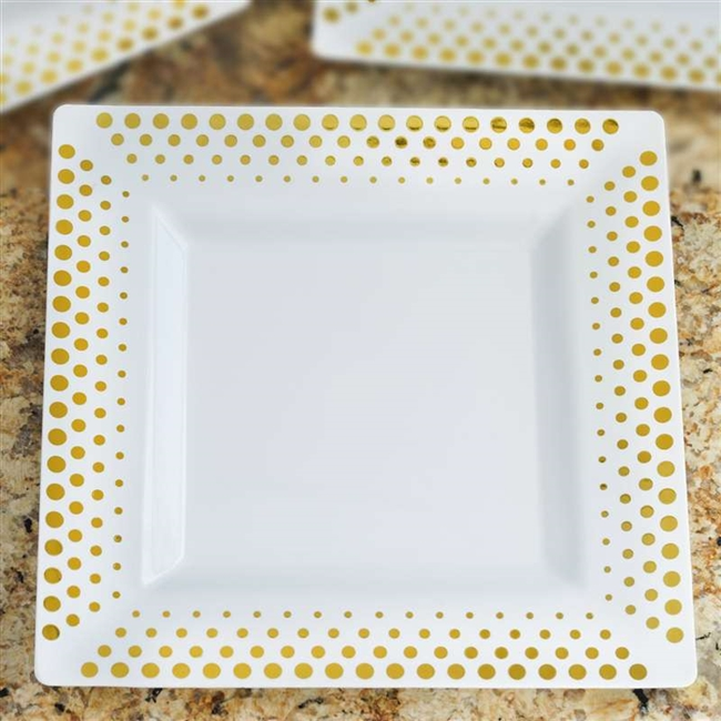 10 Pack - White with Gold 9.5  Square Disposable Plate - Hot Dots Collection  sc 1 st  RazaTrade & Buy 9.5