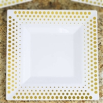 "10 Pack - White with Gold 10.75"" Square Disposable Plate - Hot Dots Collection"