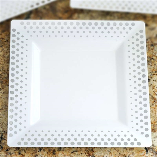 10 Pack - White with Silver 10.75\  Square Disposable Plate - Hot Dots Collection & Buy Disposable Plastic Plates | Bulk Pricing Tableware
