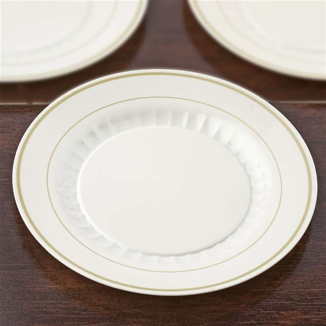12 Pack - Ivory with Gold 10.25  Round Disposable Plate - Antique Collection & Disposable Plastic Plates | Discounted Party Tableware