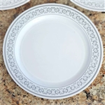 "10 Pack - White with Silver 10.25"" Round Disposable Plate - Premiere Collection"
