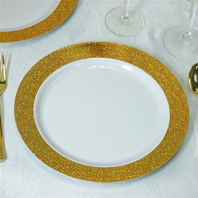 10.25\  Disposable Round Dinner Plates with Shiny Gold Dust Rims Event Dinnerware - Pack of & Buy Disposable Dinner Plates with Shiny Gold Dust Rims
