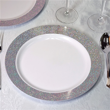 "10.25"" Disposable Round Dinner Plates with Shiny Silver Dust Rims Event Dinnerware - Pack of 12"