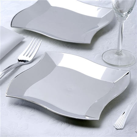 "7"" Disposable Square Plates with Silver Wave Rim Wedding Event Kitchen Dinnerware - Pack of 12"