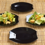 "10 Pack - Black 6"" Crescent Oval Shaped Disposable Plate - Chambury Plastics"