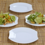 "10 Pack - White 6"" Crescent Oval Shaped Disposable Plate  - Chambury Plastics"