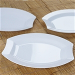 "10 Pack - White 10.5"" Crescent Oval Shaped Disposable Plate - Chambury Plastics"