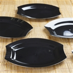 "10 Pack - Black w/ Silver Edge 10.5"" Crescent Oval Shaped Disposable Plate - Chambury Plastics"
