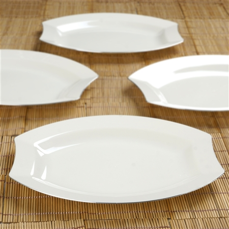 10 Pack - Ivory w/ Silver Edge 10.5\  Crescent Oval Shaped Disposable Plate - & Buy Cheap Discounted Plate | Disposable Tableware