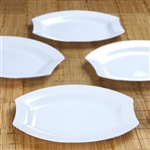 "10 Pack - White w/ Silver Edge 10.5"" Crescent Oval Shaped Disposable Plate - Chambury Plastics"