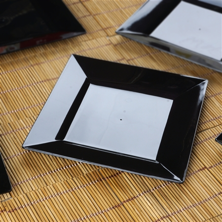 "10 Pack - Black 6.5"" Square Disposable Plate - Chambury Plastics"