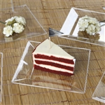 "10 Pack - Clear 6.5"" Square Disposable Plate - Chambury Plastics"