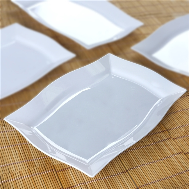 10 Pack - White 8  x 11.5  Rectangle Wave Disposable Plate - Chambury Plastics & Buy Discounted Wholesale Disposable Plates Online